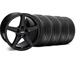 Staggered Saleen Style Black Wheel and Sumitomo Maximum Performance HTR Z5 Tire Kit; 18x9/10 (05-14 GT, V6)