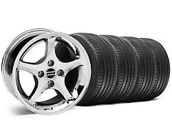 1995 Cobra R Style Chrome Wheel and Sumitomo Maximum Performance HTR Z5 Tire Kit; 17x8 (87-93 All, Excluding Cobra)