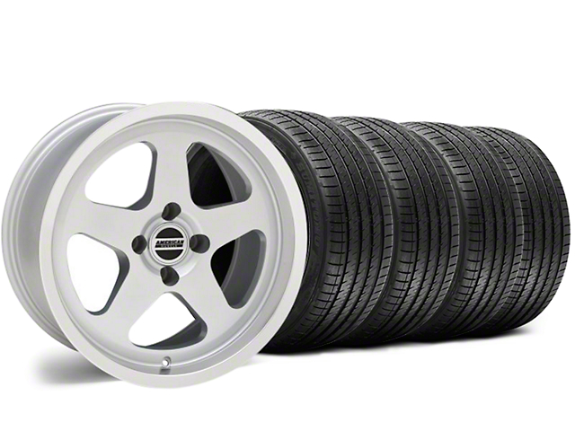 SC Style Silver Wheel and Sumitomo Maximum Performance HTR Z5 Tire Kit; 17x8 (87-93 All, Excluding Cobra)