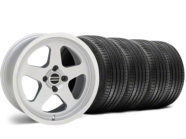 SC Style Silver Wheel and Sumitomo Maximum Performance HTR Z5 Tire Kit; 17x9 (87-93 All, Excluding Cobra)