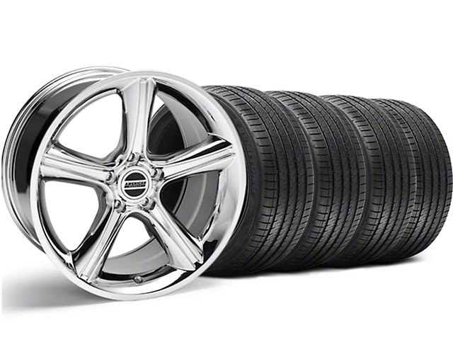 2010 GT Premium Style Chrome Wheel and Sumitomo Maximum Performance HTR Z5 Tire Kit; 18x9 (94-98 All)