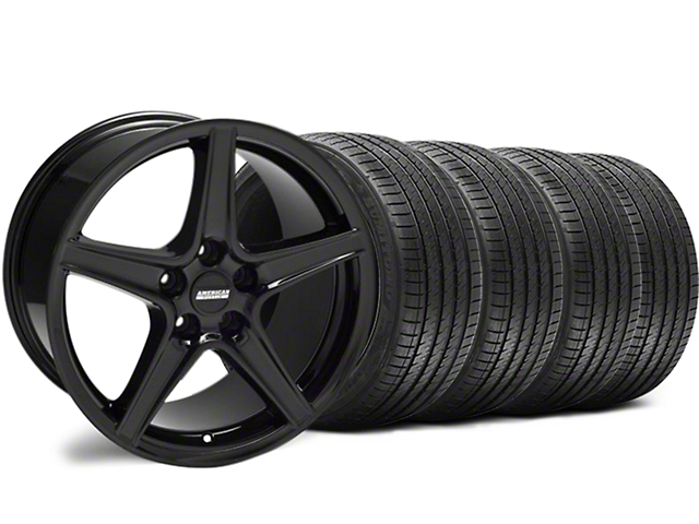 Staggered Saleen Style Black Wheel and Sumitomo Maximum Performance HTR Z5 Tire Kit; 18x9/10 (94-98 All)