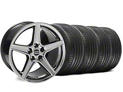 Staggered Saleen Style Black Chrome Wheel and Sumitomo Maximum Performance HTR Z5 Tire Kit; 18x9/10 (94-98 All)