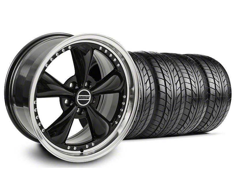 Staggered Bullitt Motorsport Black Wheel & NITTO Tire Kit - 18x9/10 (94-98 All)