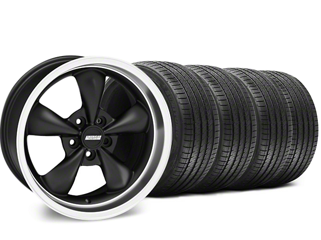 Staggered Bullitt Matte Black Wheel and Sumitomo Maximum Performance HTR Z5 Tire Kit; 18x9/10 (99-04 All)