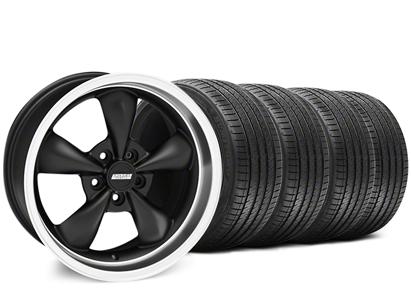 Staggered Bullitt Matte Black Wheel and Sumitomo Maximum Performance HTR Z5 Tire Kit; 18x9/10 (94-98 All)