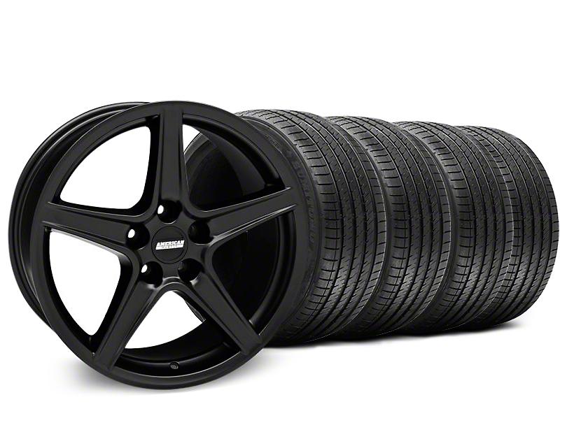Staggered Saleen Style Matte Black Wheel & Sumitomo Maximum Performance HTR Z5 Tire Kit - 18x9/10 (05-14 GT, V6)