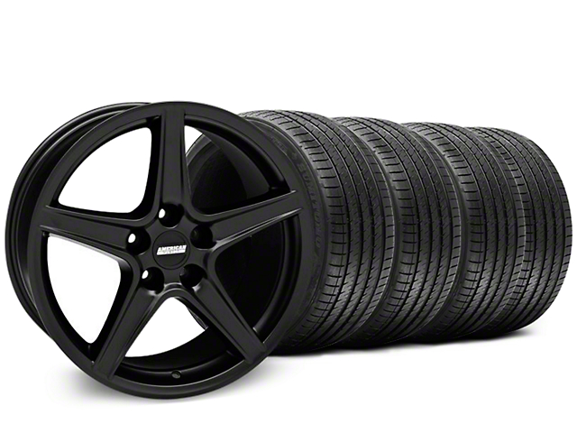 Staggered Saleen Style Matte Black Wheel & Sumitomo Maximum Performance HTR Z5 Tire Kit; 18x9/10 (05-14 GT, V6)