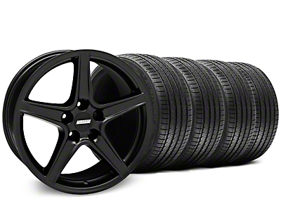 Staggered Saleen Style Matte Black Wheel & Sumitomo Tire Kit - 18x9/10 (05-14 GT, V6)