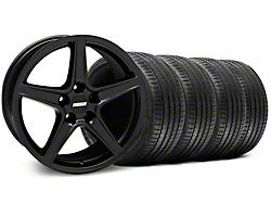 Staggered Saleen Style Matte Black Wheel and Sumitomo Maximum Performance HTR Z5 Tire Kit; 18x9/10 (99-04 All)