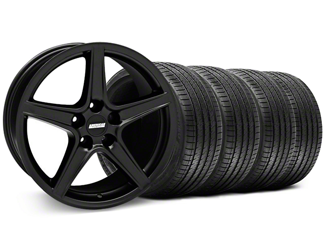 Staggered Saleen Style Matte Black Wheel and Sumitomo Maximum Performance HTR Z5 Tire Kit; 18x9/10 (94-98 All)