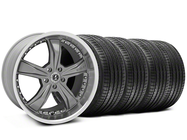 Staggered Shelby Razor Gunmetal Wheel and Sumitomo Maximum Performance HTR Z5 Tire Kit; 20x9/10 (05-14 All, Excluding 13-14 GT500)