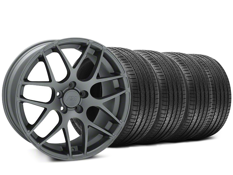 Staggered AMR Charcoal Wheel and Sumitomo Maximum Performance HTR Z5 Tire Kit; 18x8/9 (94-98 All)