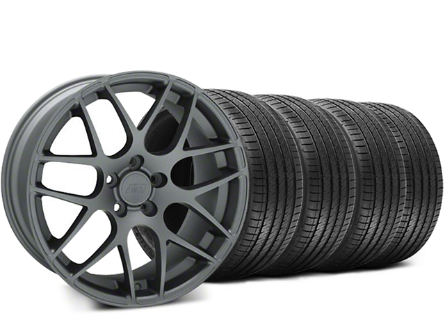 AMR Charcoal Wheel and Sumitomo Maximum Performance HTR Z5 Tire Kit; 18x8 (99-04 All)
