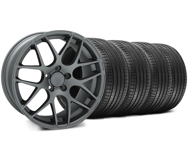 AMR Charcoal Wheel and Sumitomo Maximum Performance HTR Z5 Tire Kit; 18x9 (99-04 All)