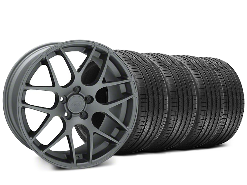 Staggered AMR Charcoal Wheel & Sumitomo Tire Kit - 18x8/9 (99-04 All)