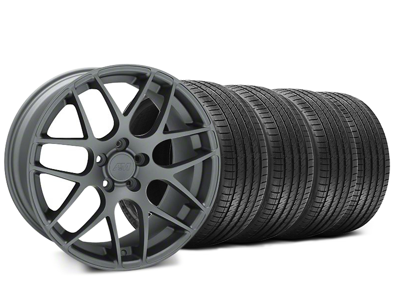 AMR Charcoal Wheel and Sumitomo Maximum Performance HTR Z5 Tire Kit; 18x8 (05-14 All)