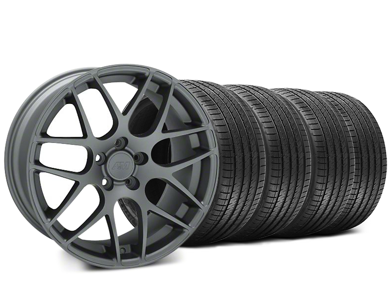 Staggered AMR Charcoal Wheel and Sumitomo Maximum Performance HTR Z5 Tire Kit; 18x9/10 (05-14 All)