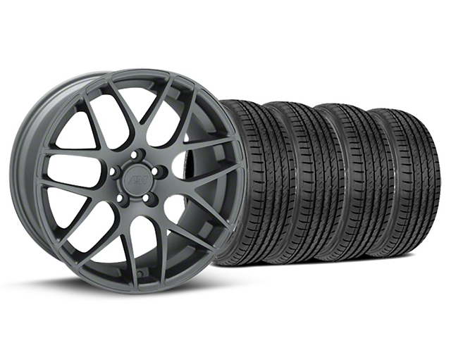 AMR Charcoal Wheel and Sumitomo Maximum Performance HTR Z5 Tire Kit; 19x8.5 (05-14 All)
