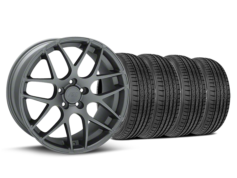 Staggered AMR Charcoal Wheel and Sumitomo Maximum Performance HTR Z5 Tire Kit; 19x8.5/10 (05-14 All)