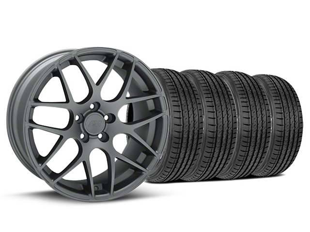 Staggered AMR Charcoal Wheel & Sumitomo Maximum Performance HTR Z5 Tire Kit - 19x8.5/10 (05-14 All)