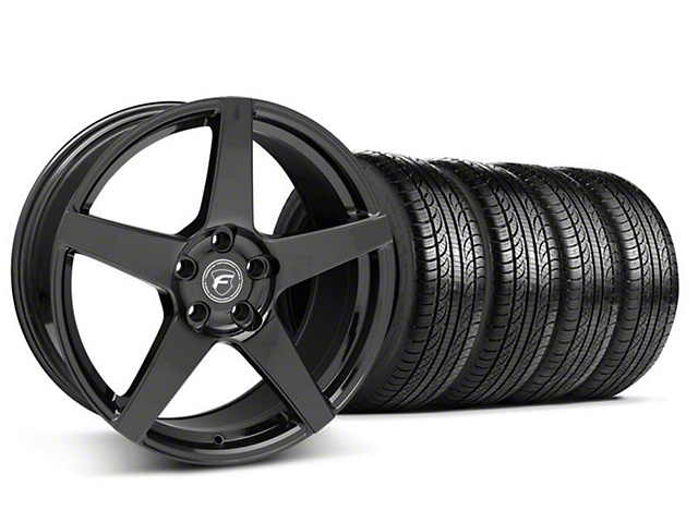 Staggered Forgestar CF5 Piano Black Wheel and Pirelli Tire Kit; 19x9/10 (05-14 All)