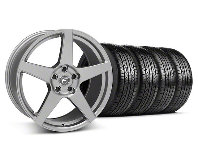 Forgestar CF5 Monoblock Gunmetal Wheel and Pirelli Tire Kit; 19x9 (05-14 All)