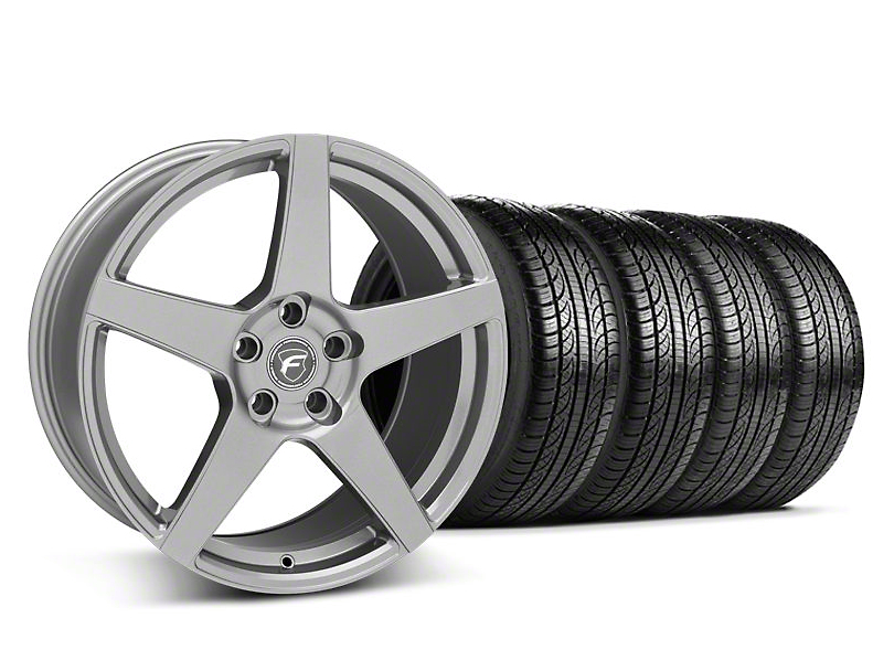 Staggered Forgestar CF5 Gunmetal Wheel & Pirelli Tire Kit - 19x9/10 (05-14 All)