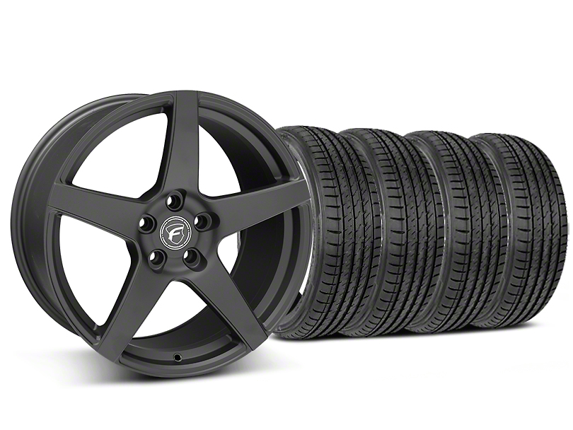 Staggered Forgestar CF5 Matte Black Wheel & Sumitomo Maximum Performance HTR Z5 Tire Kit - 19x9/10 (05-14 All)