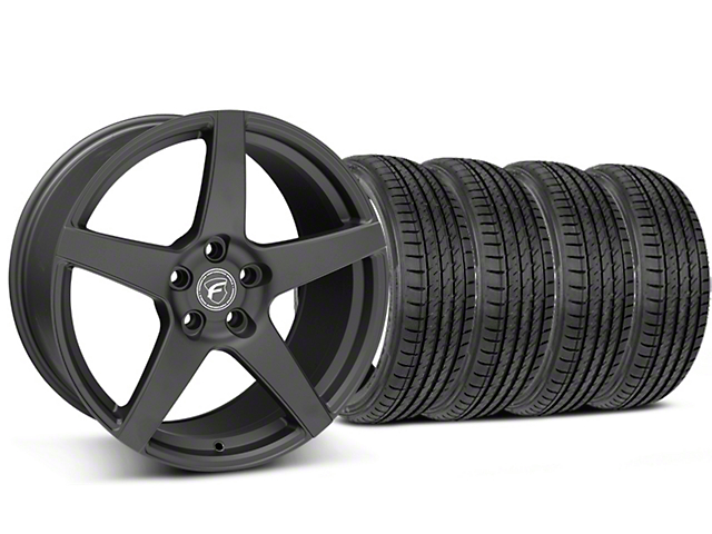 Staggered Forgestar CF5 Matte Black Wheel and Sumitomo Maximum Performance HTR Z5 Tire Kit; 19x9/10 (05-14 All)
