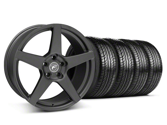 Staggered Forgestar CF5 Matte Black Wheel and Pirelli Tire Kit; 19x9/10 (05-14 All)