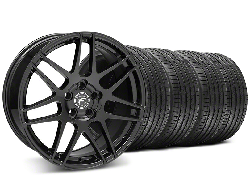 Forgestar F14 Monoblock Piano Black Wheel and Sumitomo Maximum Performance HTR Z5 Tire Kit; 18x9 (05-14 All)