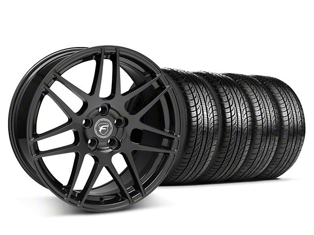 Staggered Forgestar F14 Matte Black Wheel and Pirelli Tire Kit; 19x9/10 (05-14 All)
