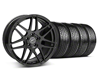 Staggered Forgestar F14 Matte Black Wheel & Pirelli Tire Kit - 19x9/10 (05-14 All)