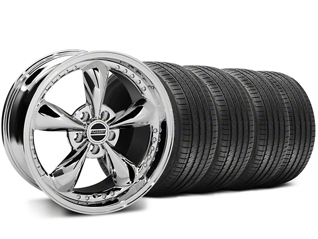 Staggered Bullitt Motorsport Chrome Wheel & Sumitomo Tire Kit - 18x9/10 (05-14 Standard GT, V6)