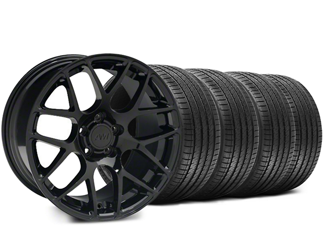 Staggered AMR Black Wheel and Sumitomo Maximum Performance HTR Z5 Tire Kit; 18x9/10 (05-14 All)
