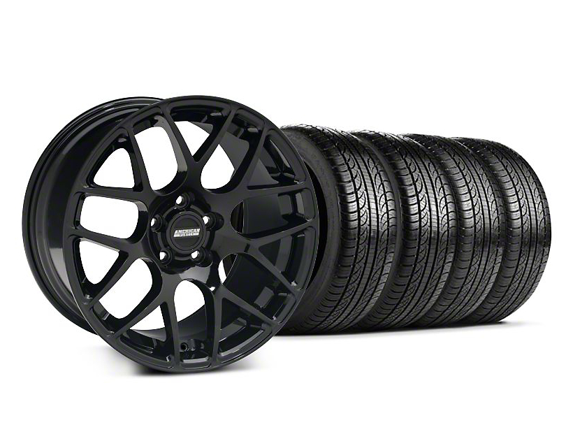 Staggered AMR Black Wheel and Pirelli Tire Kit; 19x8.5/10 (05-14 All)