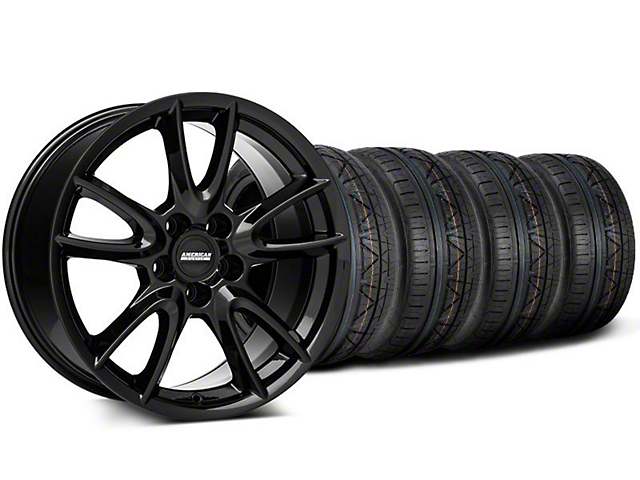 Track Pack Style Gloss Black Wheel and NITTO INVO Tire Kit; 18x9 (05-14 GT, V6)