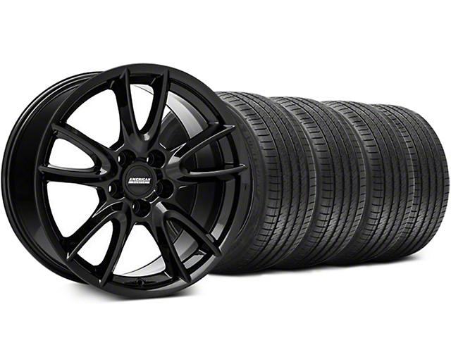 Track Pack Style Gloss Black Wheel and Sumitomo Maximum Performance HTR Z5 Tire Kit; 18x9 (05-14 GT, V6)