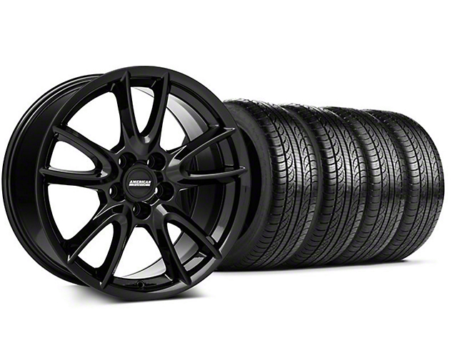 Track Pack Style Staggered Gloss Black Wheel and Pirelli Tire Kit; 19x8.5/10 (05-14 All)