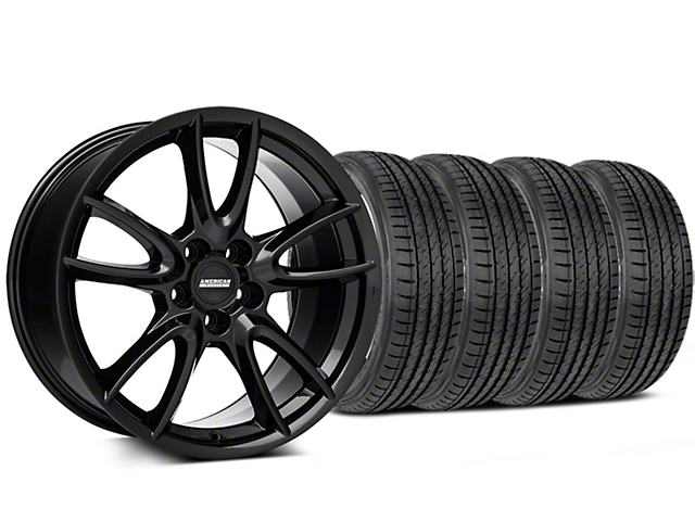Track Pack Style Staggered Gloss Black Wheel and Sumitomo Maximum Performance HTR Z5 Tire Kit; 19x8.5/10 (05-14 All)