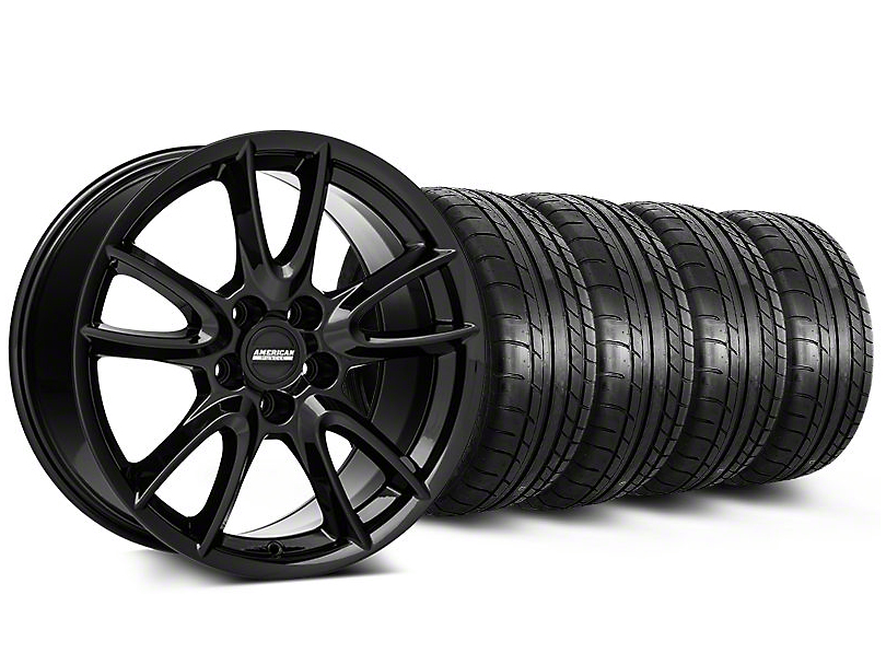 Track Pack Style Staggered Gloss Black Wheel & Mickey Thompson Tire Kit - 19x8.5/10 (05-14 All)