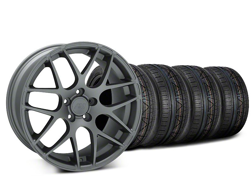Staggered AMR Charcoal Wheel and NITTO INVO Tire Kit; 19x8.5/10 (05-14 All)
