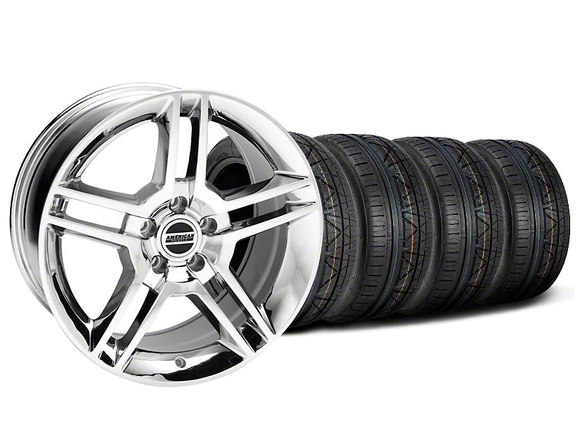 Staggered 2010 GT500 Style Chrome Wheel and NITTO INVO Tire Kit; 19x8.5/10 (05-14 All)