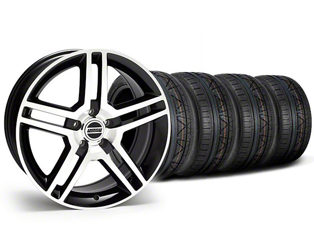Staggered 2010 GT500 Style Black Machined Wheel & NITTO INVO Tire Kit - 19x8.5/10 (05-14 All)