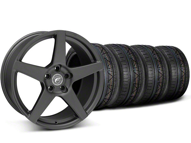Staggered Forgestar CF5 Matte Black Wheel and NITTO INVO Tire Kit; 19x9/10 (05-14 All)