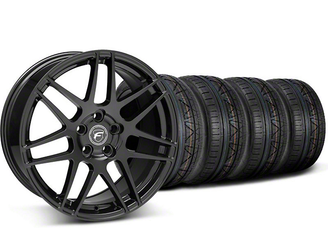 Staggered Forgestar F14 Piano Black Wheel and NITTO INVO Tire Kit; 19x9/10 (05-14 All)