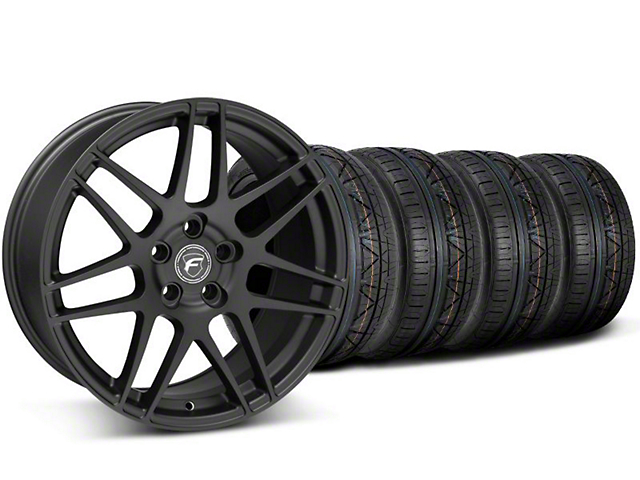 Staggered Forgestar F14 Black Wheel and NITTO INVO Tire Kit; 19x9/10 (05-14 All)