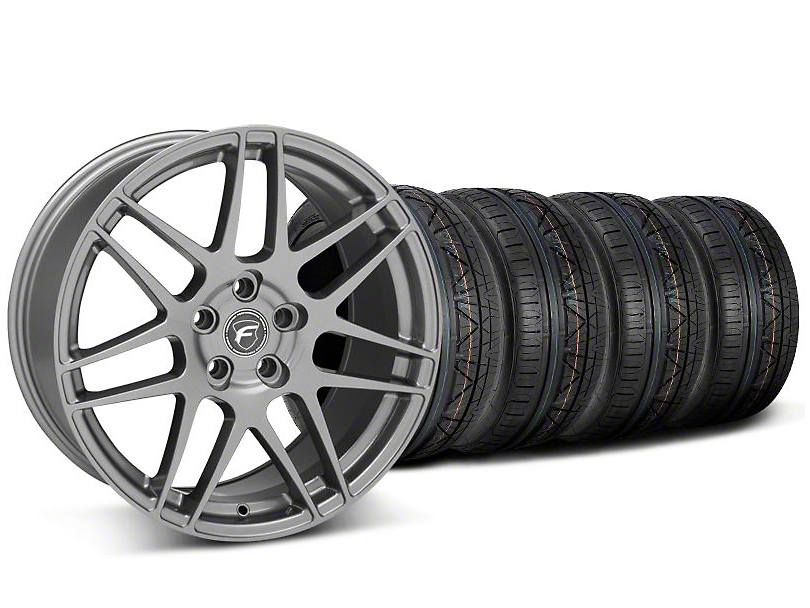 Staggered Forgestar F14 Gunmetal Wheel and NITTO INVO Tire Kit; 19x9/10 (05-14 All)
