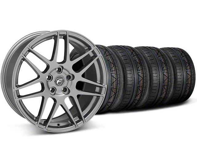 Staggered Forgestar F14 Gunmetal Wheel & NITTO INVO Tire Kit - 19x9/10 (05-14 All)